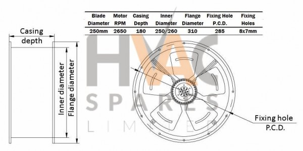 Duct Fan, Cased Axial Fan, Kitchen Extract, Extractor 250mm, 10